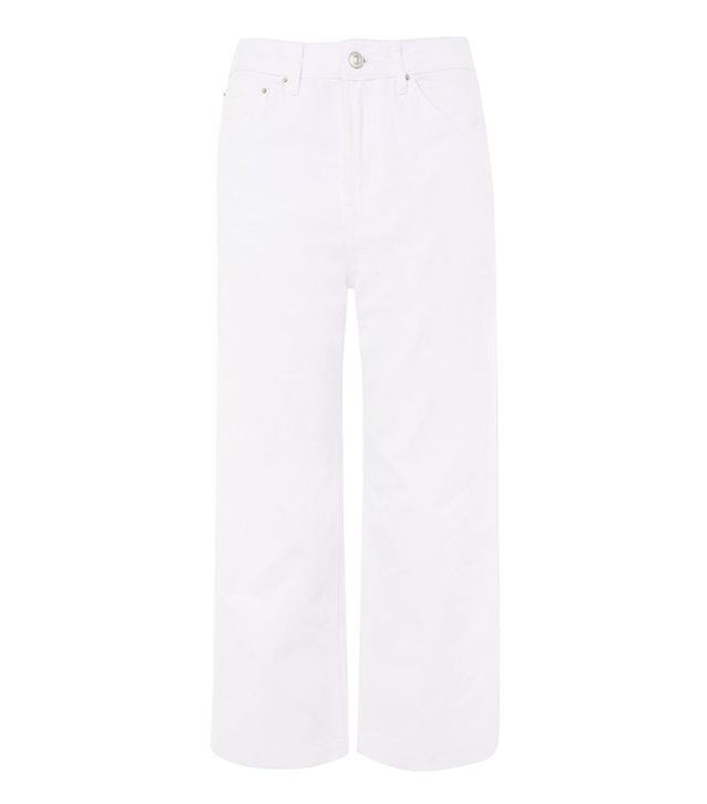MOTO White Cropped Wide Leg Jeans