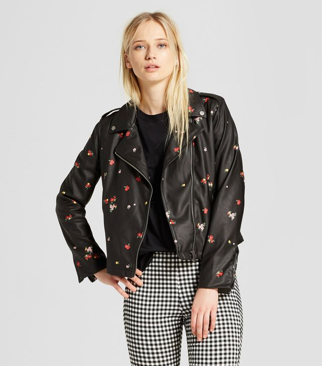 Who What Wear Printed Moto Jacket