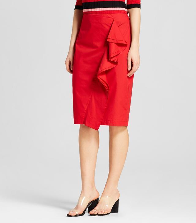 Who What Wear Ruffle Pencil Midi Skirt