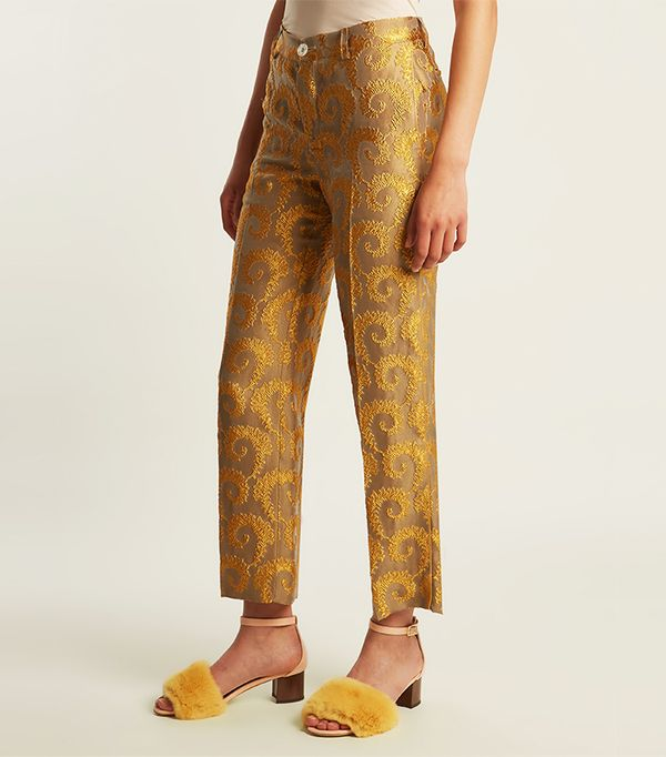 Arabesque straight-leg brocade trousers
