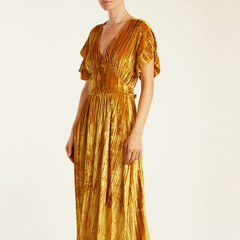 Deep V-Neck Velvet Midi Dress