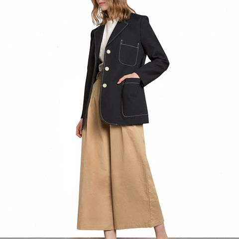 Navy Contrast Stitching Pocket Blazer