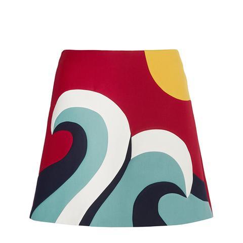 Color-Block Cotton-Blend Crepe Mini Skirt