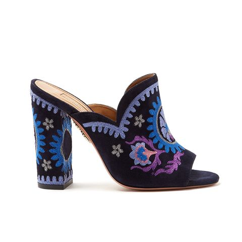 Evie Floral-Embroidered Mules