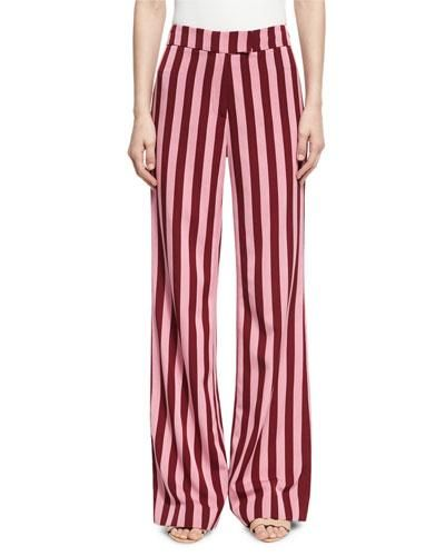 Striped High-Waist Trousers