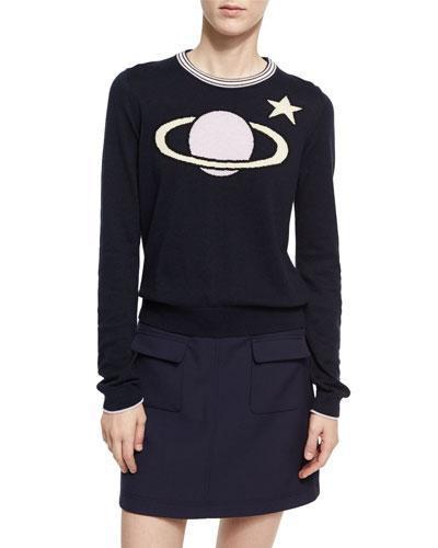Planet Intarsia Crew Neck Sweater