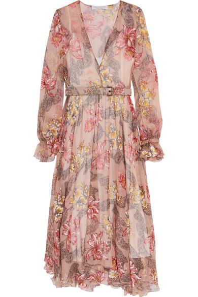 Net-A-Porter Belted Floral-print Silk-chiffon Midi Dress