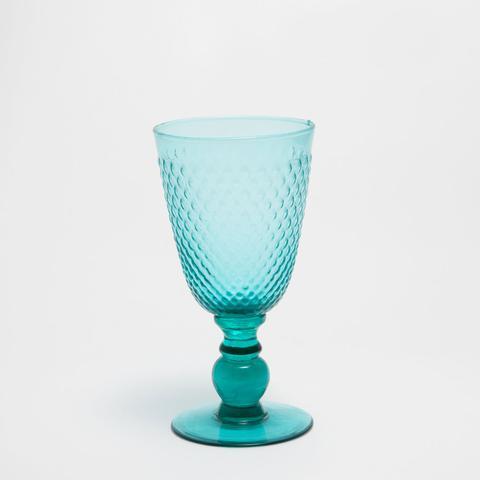 Turqouise Raised Homecomb Panel Wine Glass