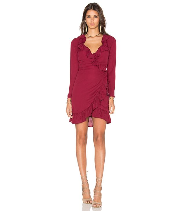 Tuscan Fling Ruffle Dress in Wine. - size S (also in XS)