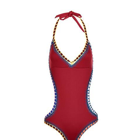 Burgundy Crochet Mono Cut-Out Swimsuit