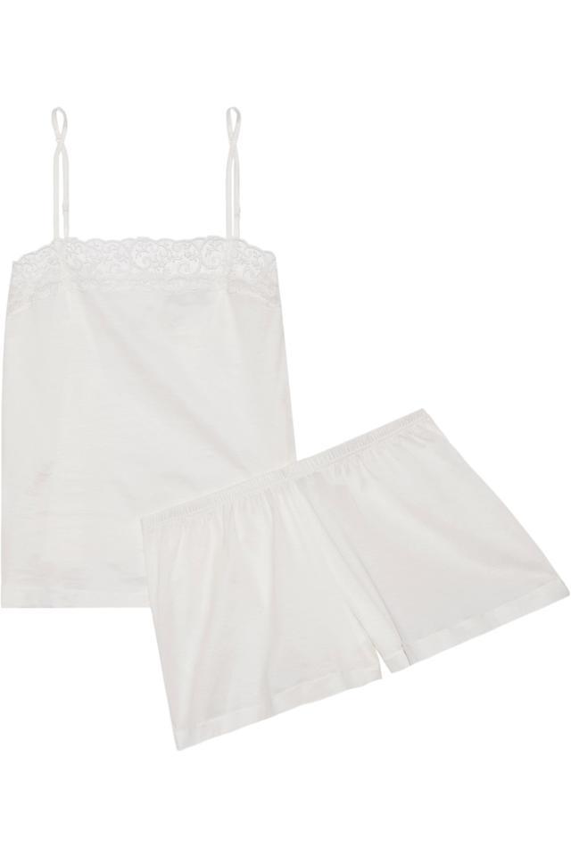 La Perla Liason embroidered tulle-trimmed cotton-blend pajama set