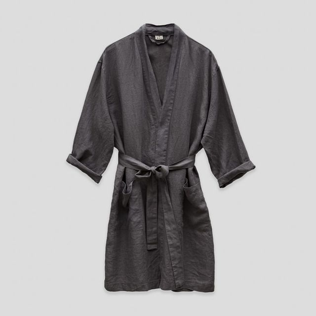 IN BED 100% Linen Robe in Charcoal