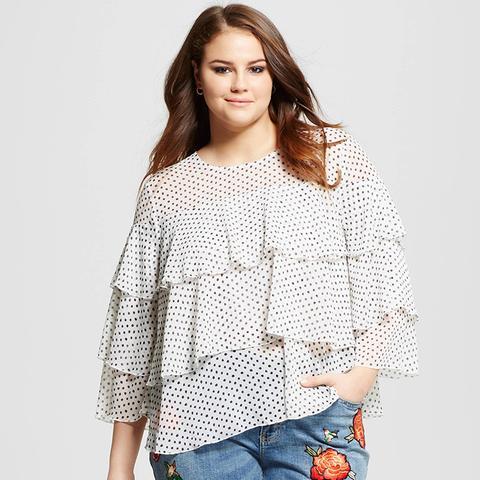Women's Plus Size Layered Ruffle Blouse
