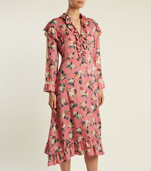 Palasha floral-print wool and silk-blend dress