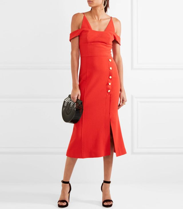 Beltrán Cold-shoulder Stretch-crepe Midi Dress