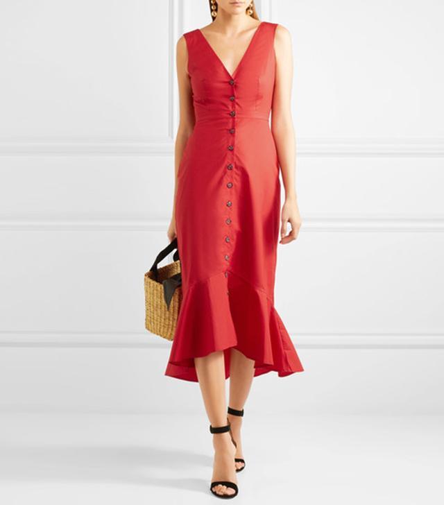 Zoey Cutout Cotton-blend Poplin Midi Dress