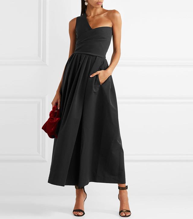 April One-shoulder Cady Midi Dress