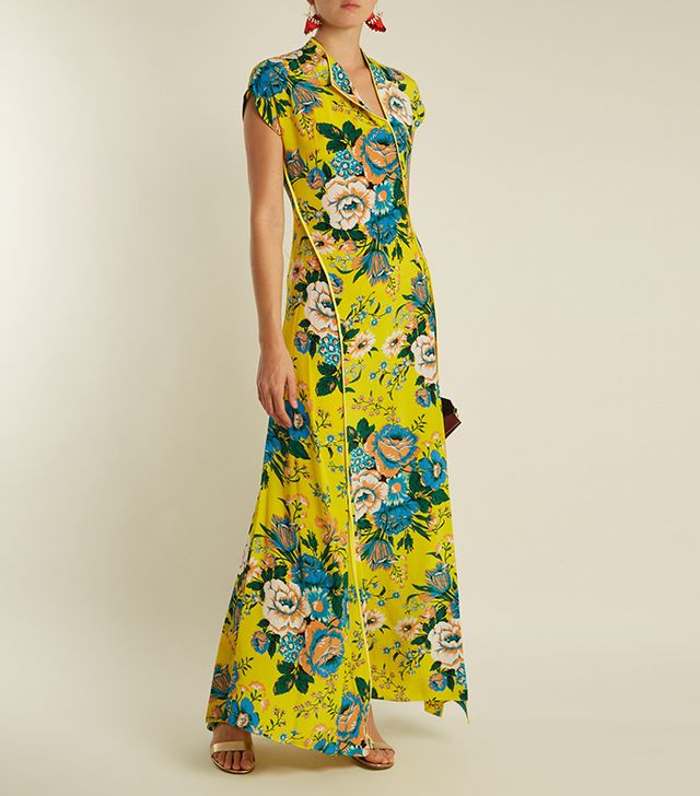 Bournier-print asymmetric silk dress