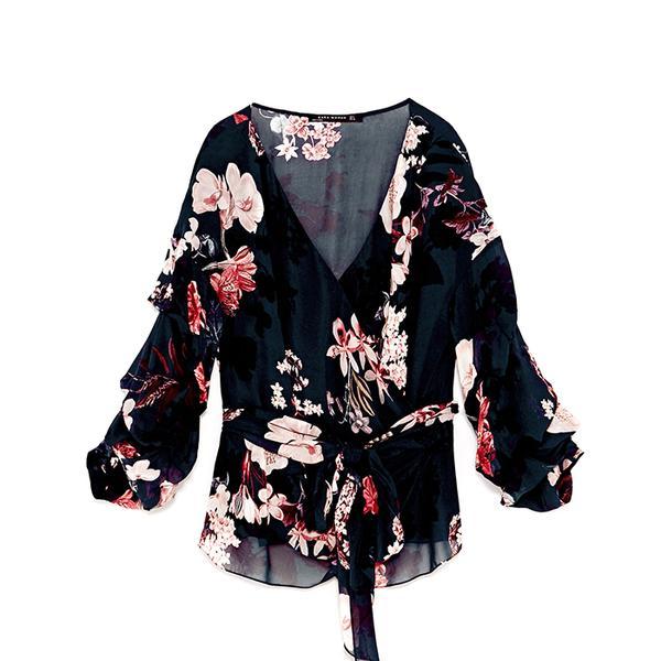Zara Floral Print Wrap Blouse