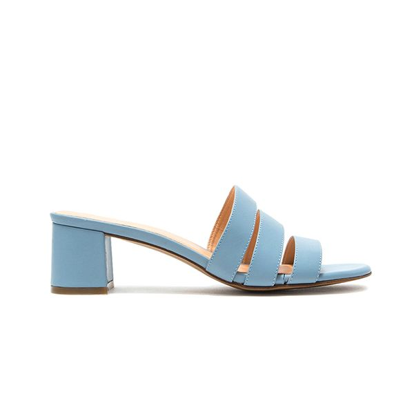 Jane Mule in Blue Napa Leather