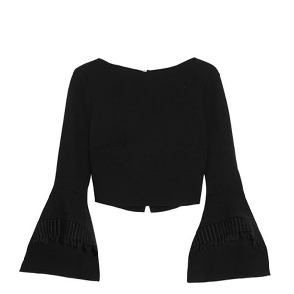 Liverton Macramé Lace-trimmed Wool-crepe Top