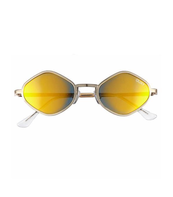 Women's #quayxkylie Purple Honey 48Mm Geo Sunglasses - Gold/ Green
