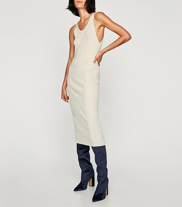 Zara Ribbed Dress With Thin Straps