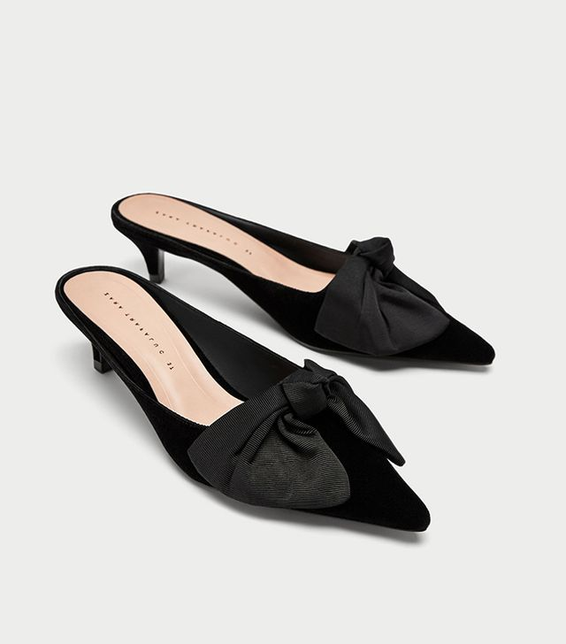 Zara Kitten Heel Mules With Bow