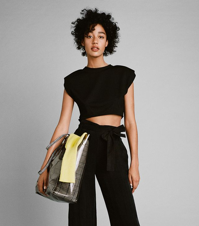 Zara Crop Top With Shoulder Pads