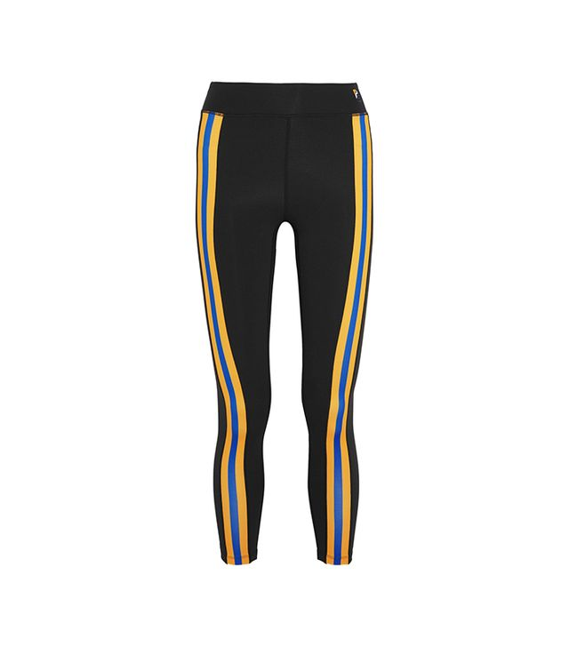 Double Innings Striped Stretch-jersey Leggings
