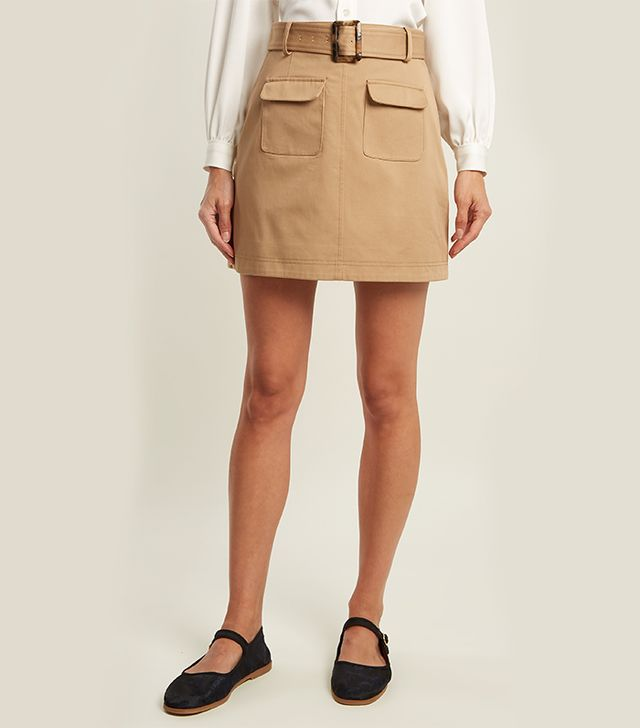 Patch-pocket A-line cotton mini skirt