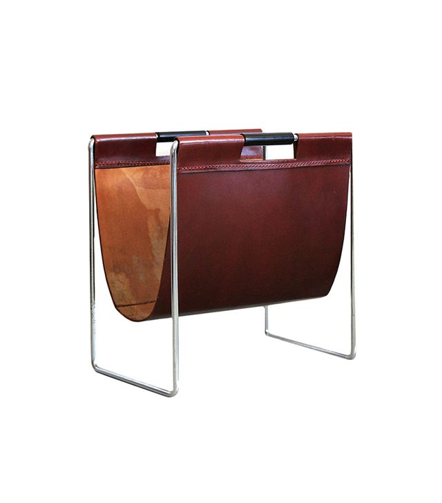 Vintage Red Leather and Chrome Magazine Holder