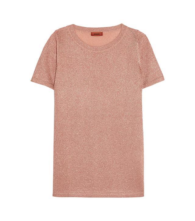 Metallic Stretch-knit T-shirt