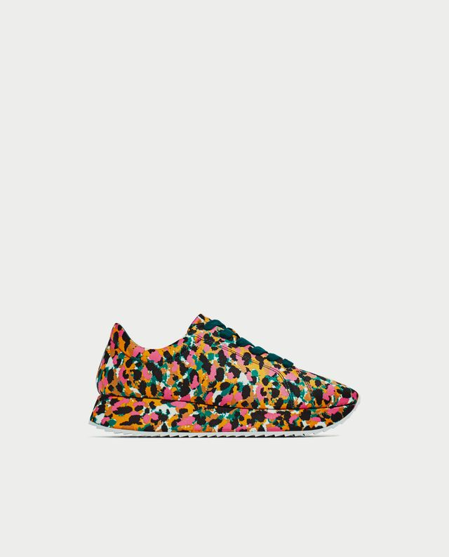 Zara Printed Satin Sneakers