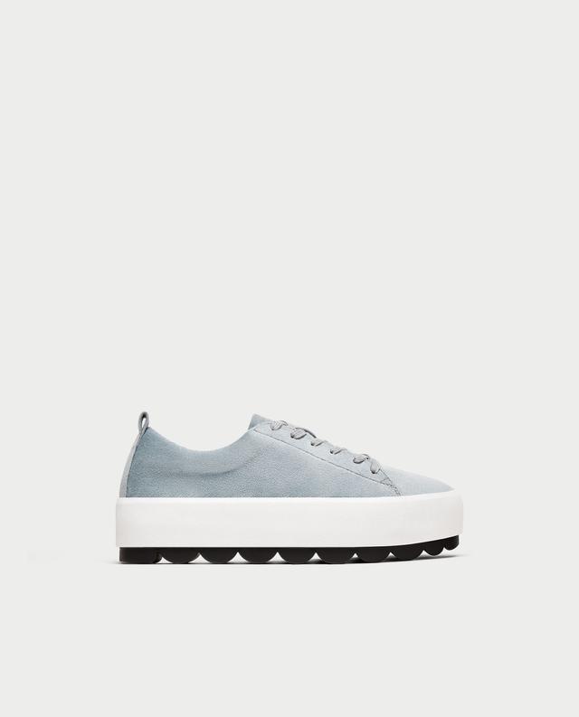 Zara Velvet Platform Sneakers