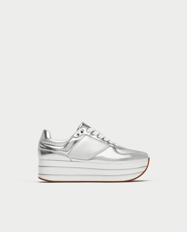 Zara Silver Platform Sneakers