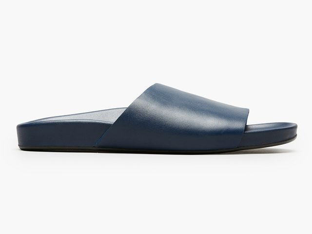 Women's Form Leather Slide Sandal by Everlane in Navy, Size 6