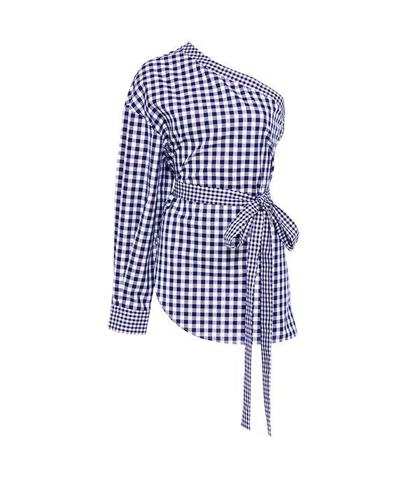 One-Shoulder Gingham Cotton Blouse