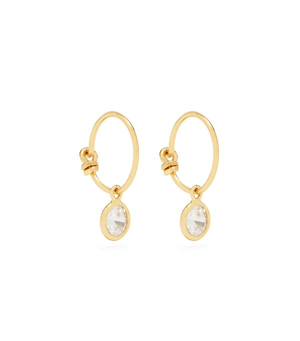 Zircon and gold-plated earrings