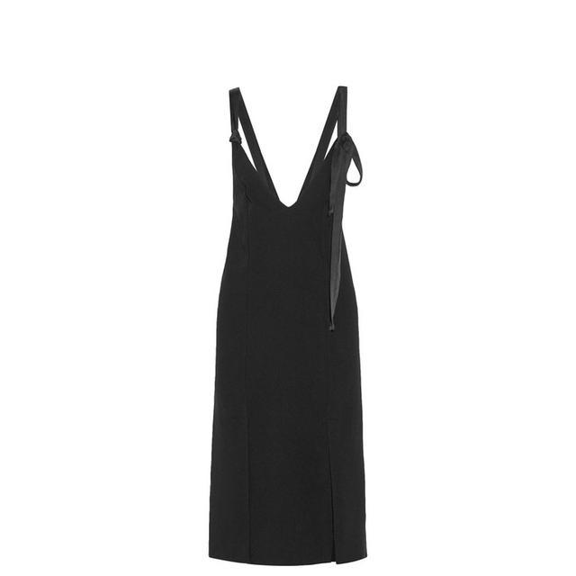 Geronia Satin-trimmed Crepe Midi Dress