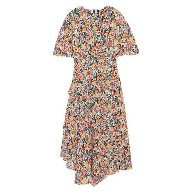 Topshop Unique Aster Ruffled Floral-print Silk Crepe De Chine Midi Dress