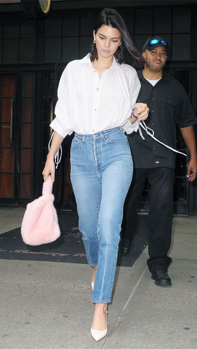 Kendall Jenner jeans pink furry bag