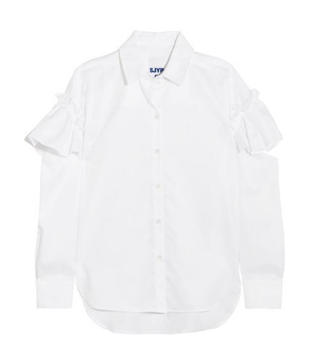 SJYP Cutout Ruffled Cotton-Poplin Shirt