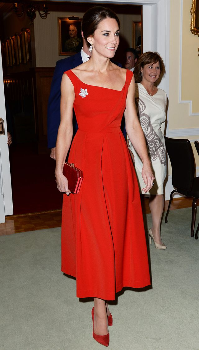 Kate Middleton style: the Duchess of Cambridge wearing a red Preen dress