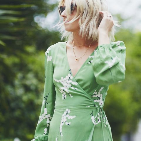 What to wear to a country wedding: Emma Thatcher in Realisation Par green dress