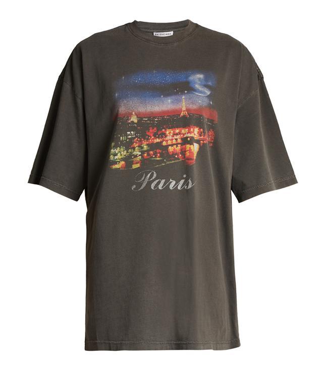 Balenciaga Short-Sleeved Paris-Print T-Shirt