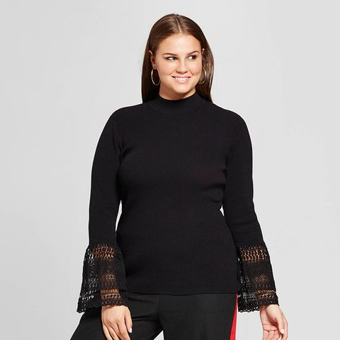 Lace Bell-Sleeve Ribbed Crew