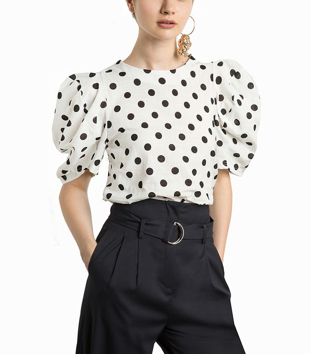 Pixie Market Roma Polka-Dot Balloon-Sleeve Top