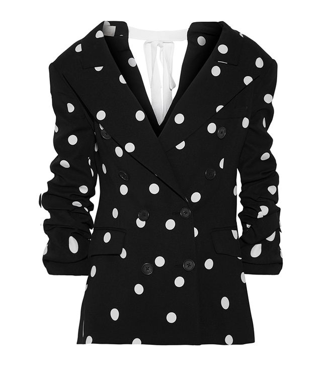 Ruched Polka-dot Silk-blend Crepe Blazer