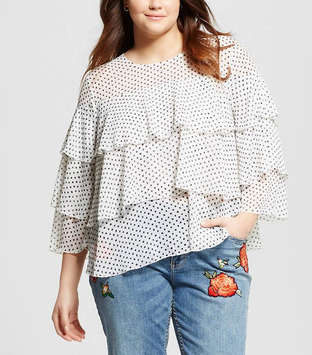 Who What Wear Layer Ruffle Blouse